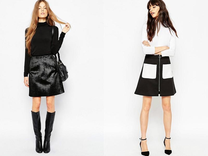 Сочетание юбки-трапеции с другими элементами гардероба